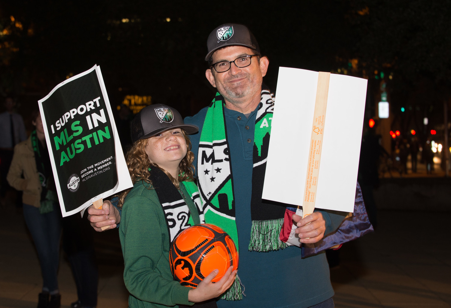 Supporters of MLS2ATX hold a rally outside City Hall following the City of Austin's unanimous resolution supporting the plan to bring a Major League Soccer franchise to Austin from Columbus, Ohio, on November 9, 2017.