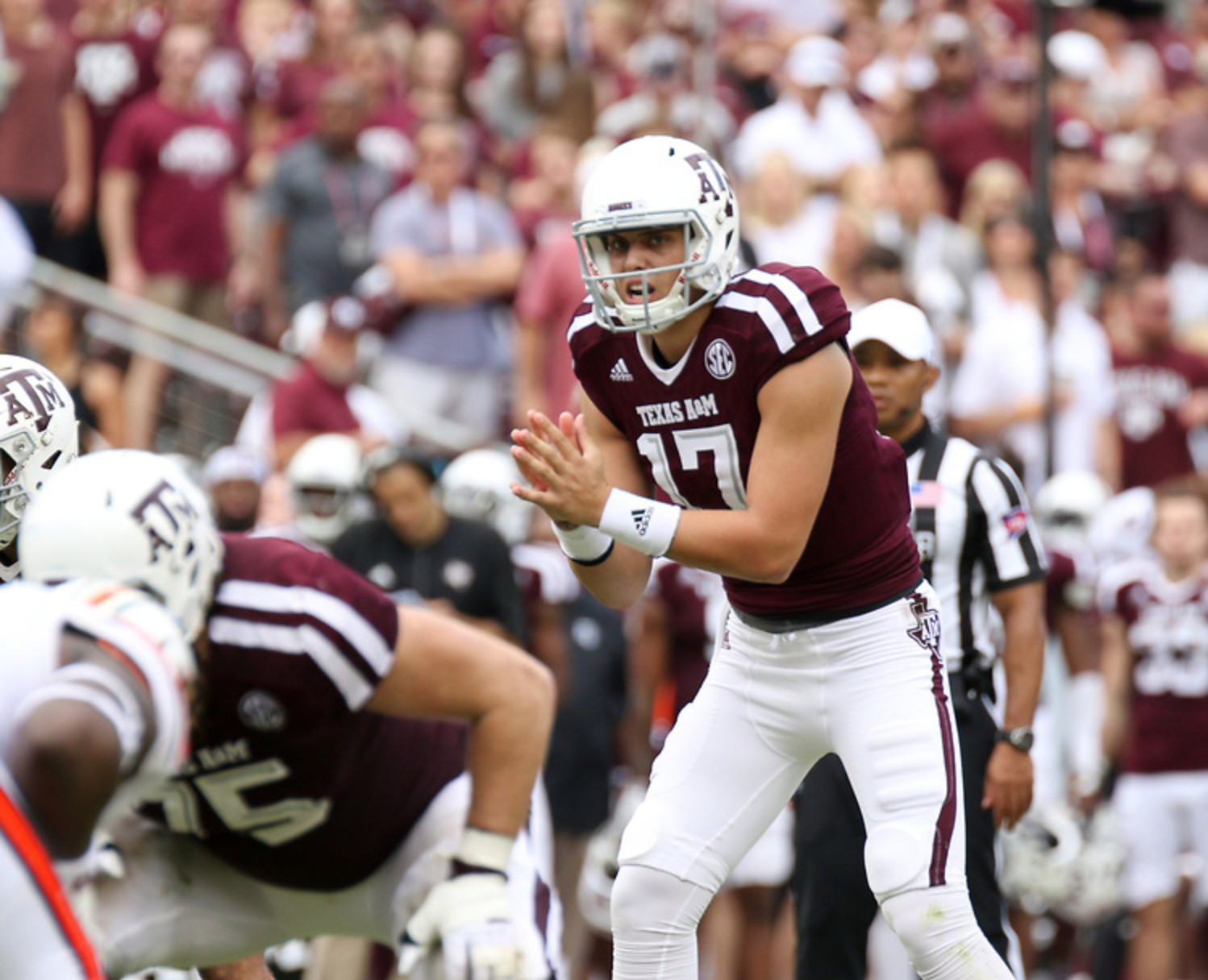 Nick Starkel became just the 12th Texas A&M quarterback to surpass the 400-yard passing barrier as the Aggies demolished New Mexico 55-14 on Saturday night.