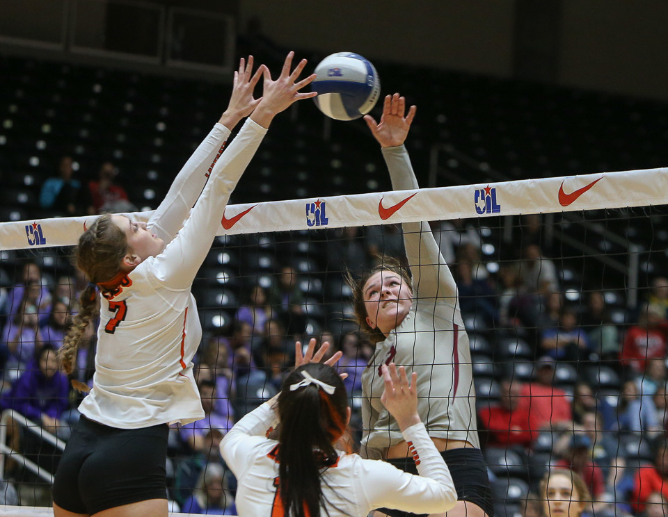Rouse Raiders senior Maddie Sheehan (13) attacks during a Class 5A girls high school semifinal volleyball game between Rouse High School and Aledo High School at Curtis Culwell Center in Garland, Texas, on November 17, 2017. Rouse swept Aledo (25-17, 27-25, 25-18) to advance to the finals.