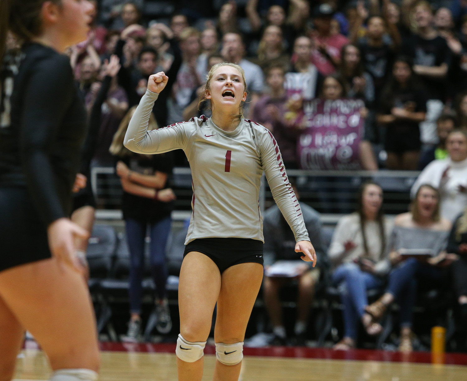Rouse Raiders senior Katy Northcut (1) celebrates a point during the Class 5A high school volleyball state final between Rouse High School and Prosper High School at Curtis Culwell Center in Garland, Texas, on November 18, 2017. Prosper won the match in five sets, (25-18, 21-25, 18-25, 25, 23, 16-14) to win the 5A state championship.