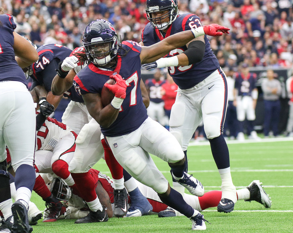 Houston Texans running back D'Onta Foreman (27) scores his first career touchdown during an NFL football game between the Houston Texans and the Arizona Cardinals at NRG Stadium in Houston, Texas.