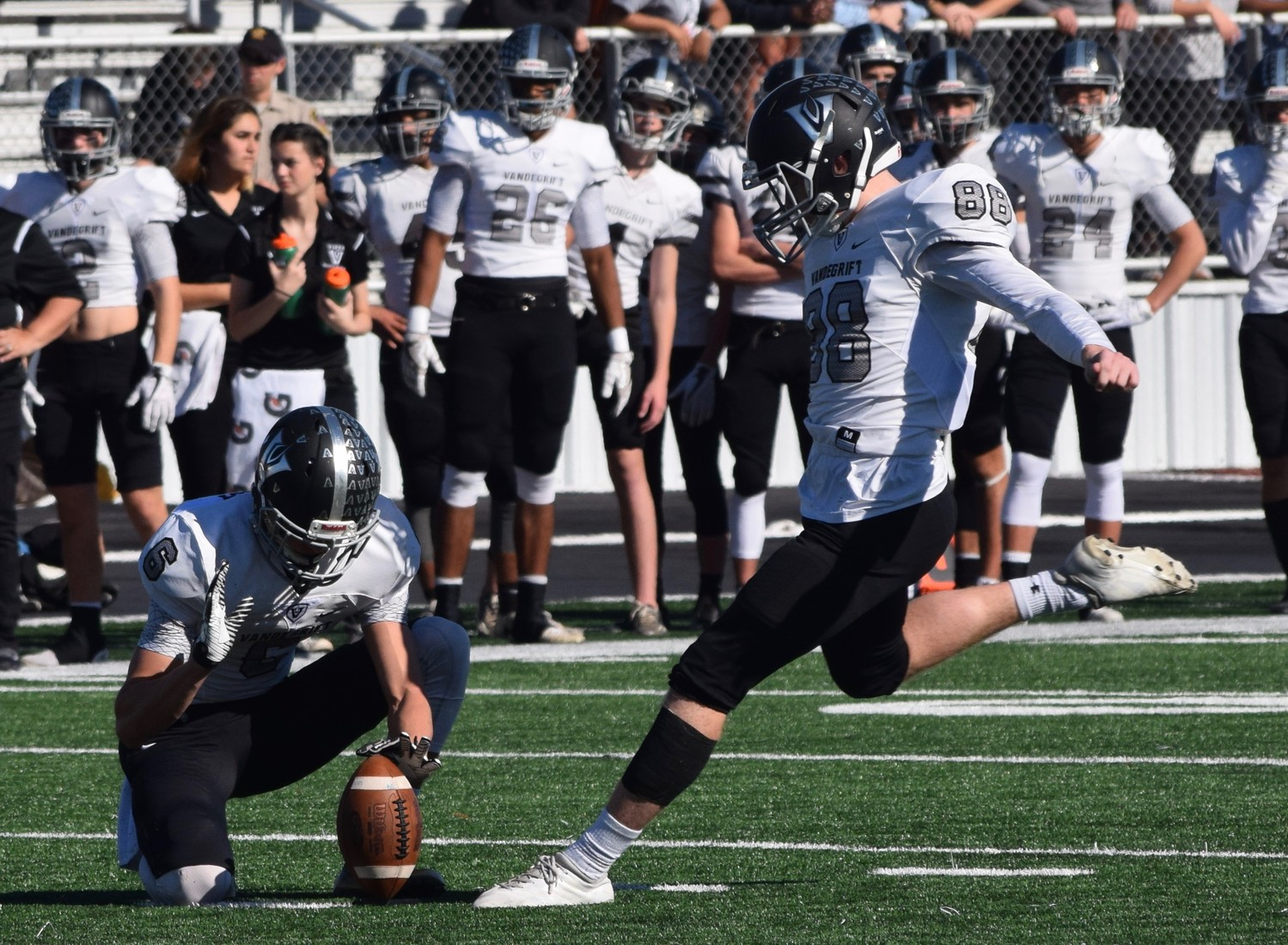 Alex Stadhaus and Vandegrift lost to Cibolo Steele 36-18 in the area round of the playoffs Friday in New Braunfels.