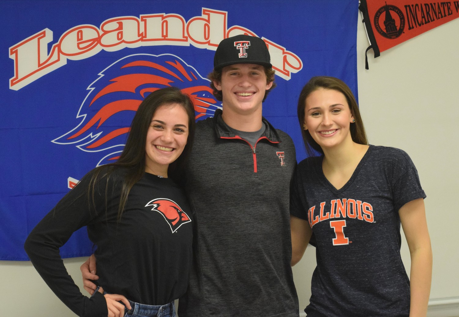 From left, Pilar Gonzaba will play volleyball at Incarnate Word, Mason Montgomery will play baseball at Texas Tech, and Sarah Cano will swim at Illinois.