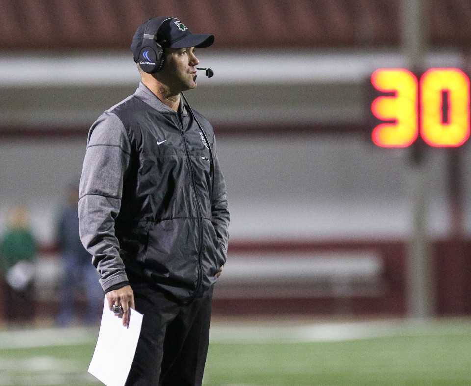 Cedar Park Timberwolves head coach Carl Abseck during a high school football playoff game between the Cedar Park Timberwolves and the Manvel Mavericks at Waller ISD Stadium in Waller, Texas, on December 1, 2017. Manvel won 56-17.