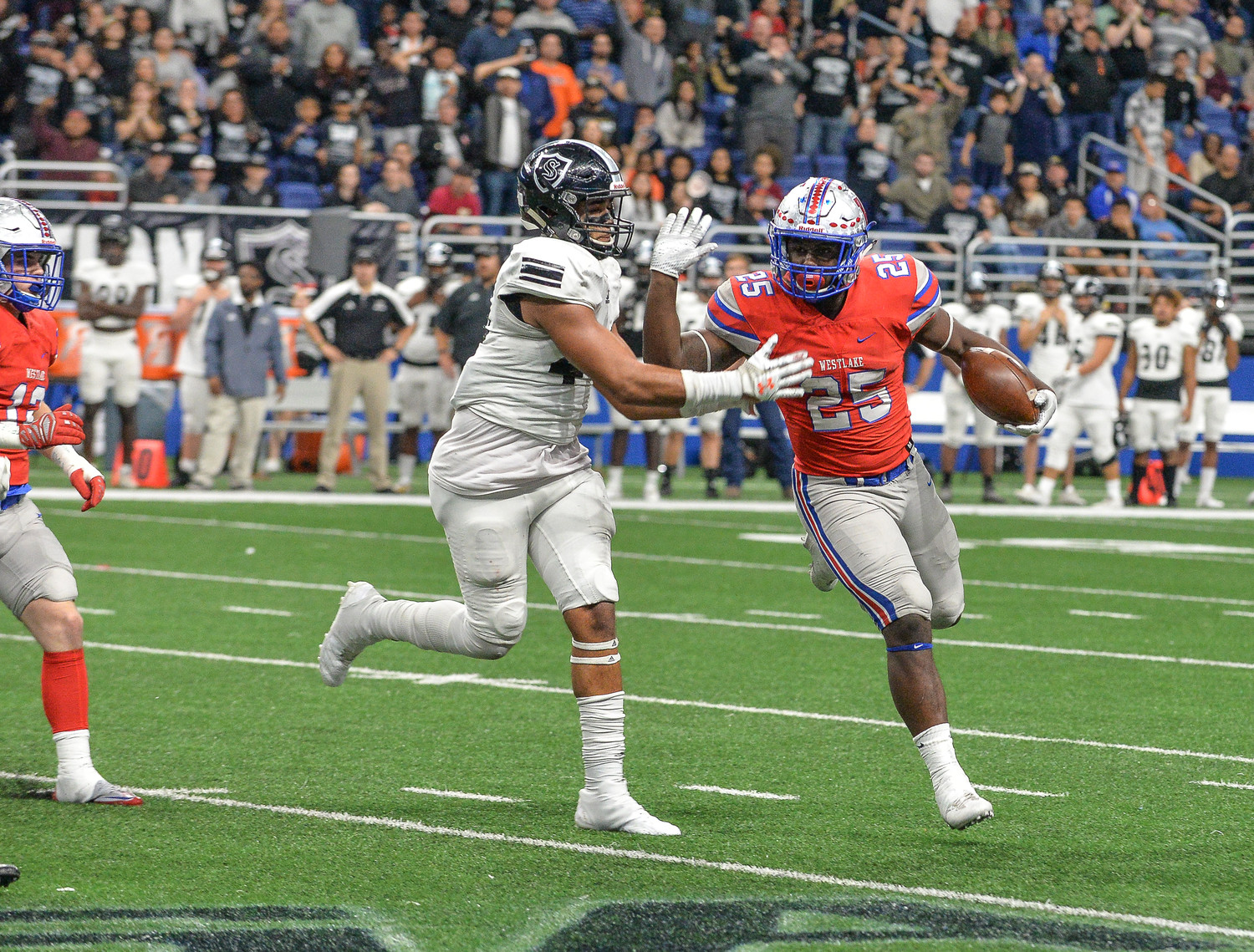 Nakia Watson ran for an for 183 yards and three touchdowns, helping Westlake beat Cibolo Steele 28-14 Saturday night.