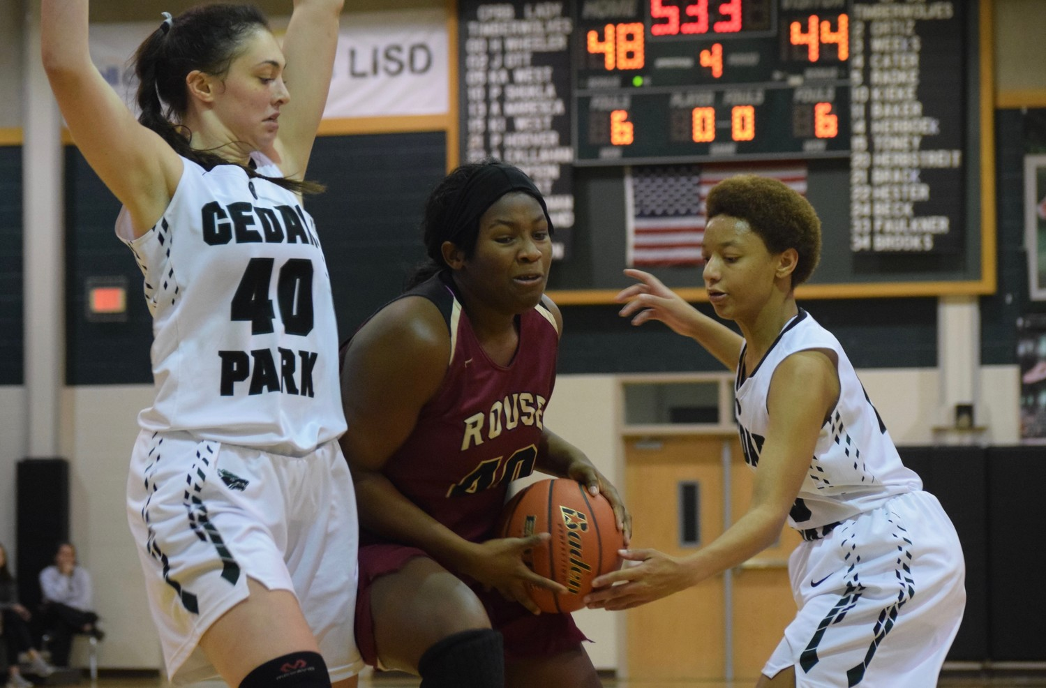 Rouse senior Ashley Thomson, center, scored 16 points, but No. 11 Rouse lost to No. 15 Cedar Park 51-44 Tuesday night.