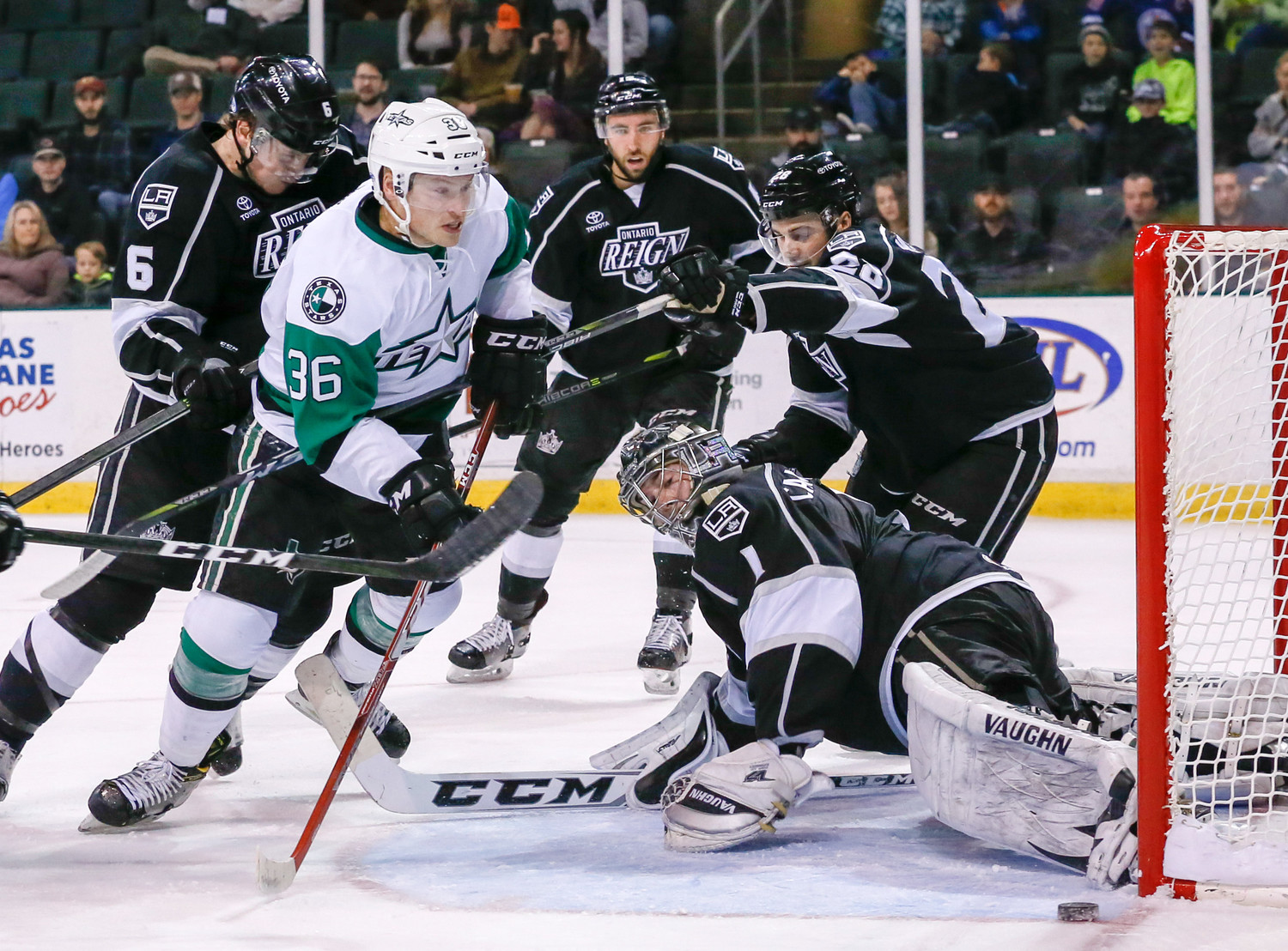 Mark McNeill scored a goal, but the Stars lost to the Ontario Reign 4-2 Wednesday night. Texas faces the Cleveland Monsters Saturday at 7 p.m.