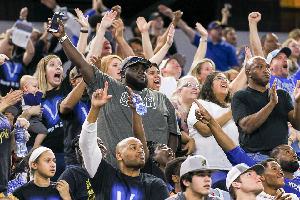 The Rockdale Tigers fans respond to a fumble recovery during the UIL Class 3A Division I state football championship game between Rockdale High School and Brock High School at AT&T Stadium in Arlington, Texas, on December 21, 2017.