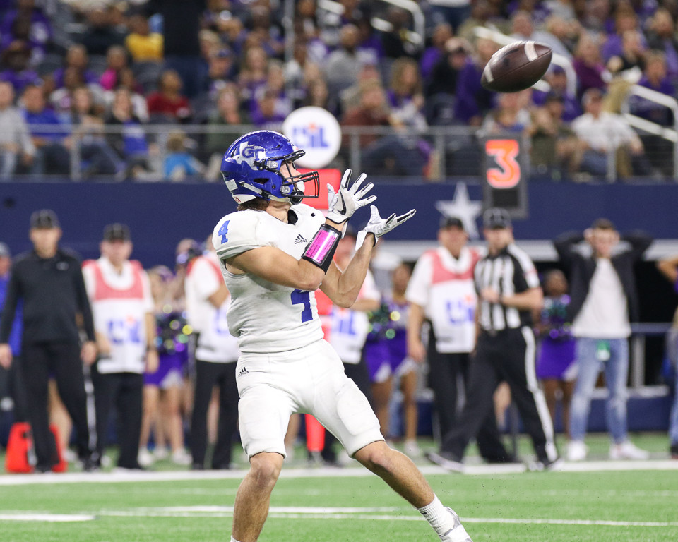 Gunter Tigers junior defensive back Braiden Clopton (4) looks in a touchdown pass during the third quarter of the UIL Class 3A Division II state football championship game between Newton High School and Gunter High School at AT&T Stadium in Arlington, Texas, on December 21, 2017.