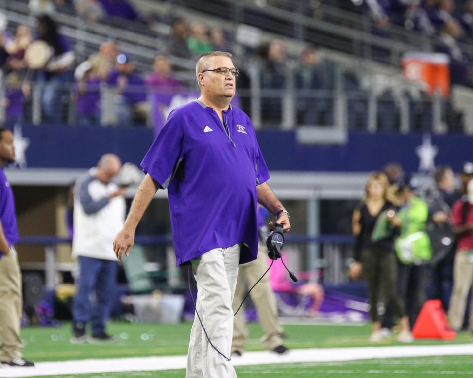 Newton Eagles head coach WT Johnston during the UIL Class 3A Division II state football championship game between Newton High School and Gunter High School at AT&T Stadium in Arlington, Texas, on December 21, 2017.