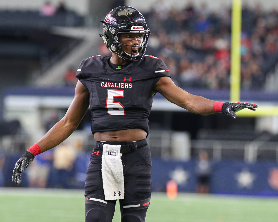 Lake Travis Cavaliers wide receiver Garret Wilson (5) during the UIL Class 6A Division I state football championship game between Lake Travis High School and Allen High School at AT&T Stadium in Arlington, Texas, on December 23, 2017.