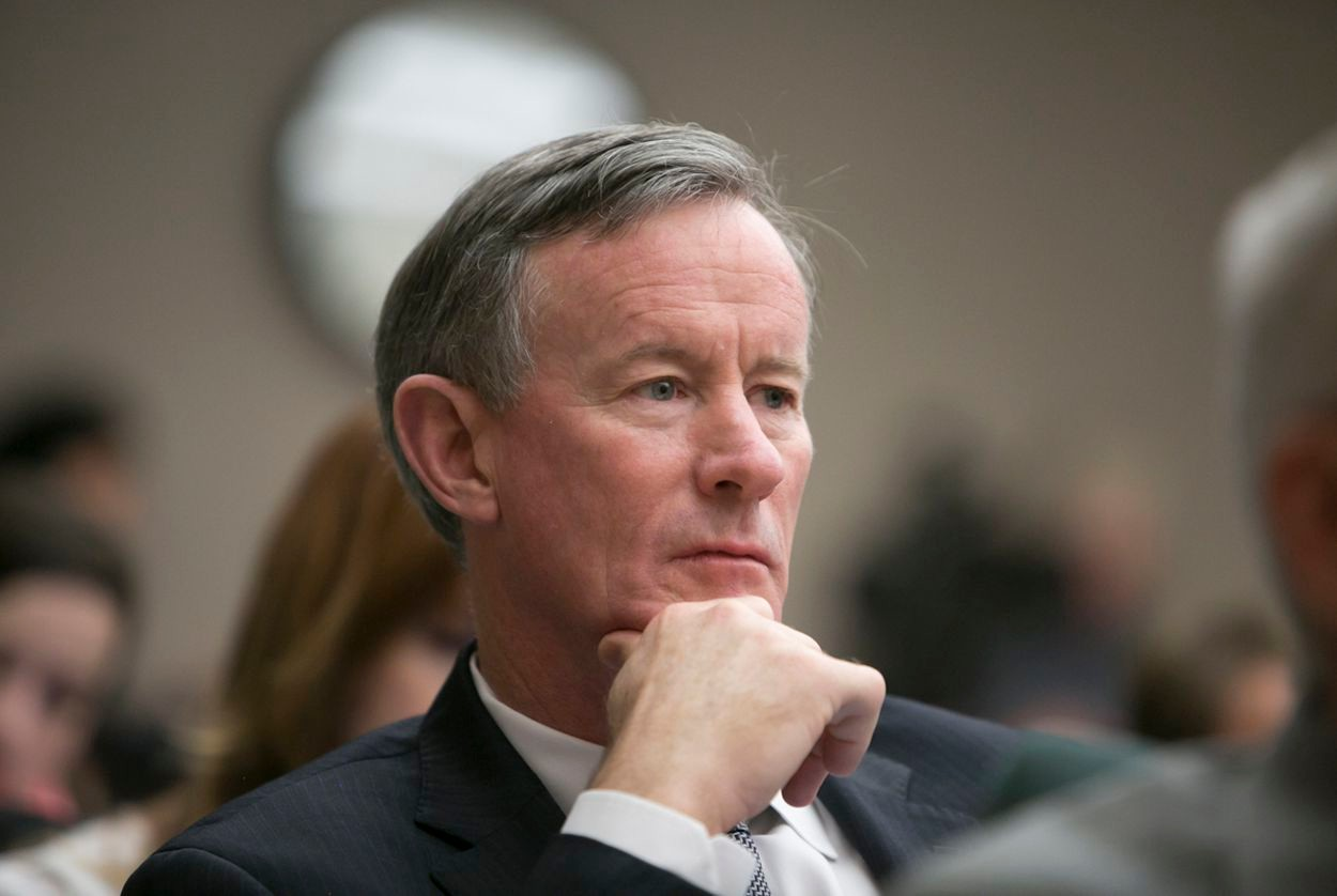 Chancellor if the University of Texas System, Bil McRaven listens in during a House Higher Education Committee hearing on May 10, 2016.