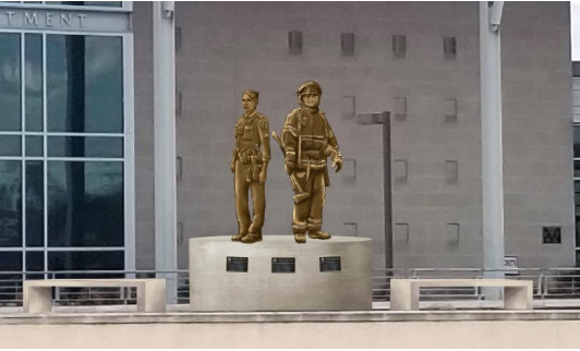 This rendering shows what the proposed public safety statue will look like at the police department at 911 Quest Parkway.