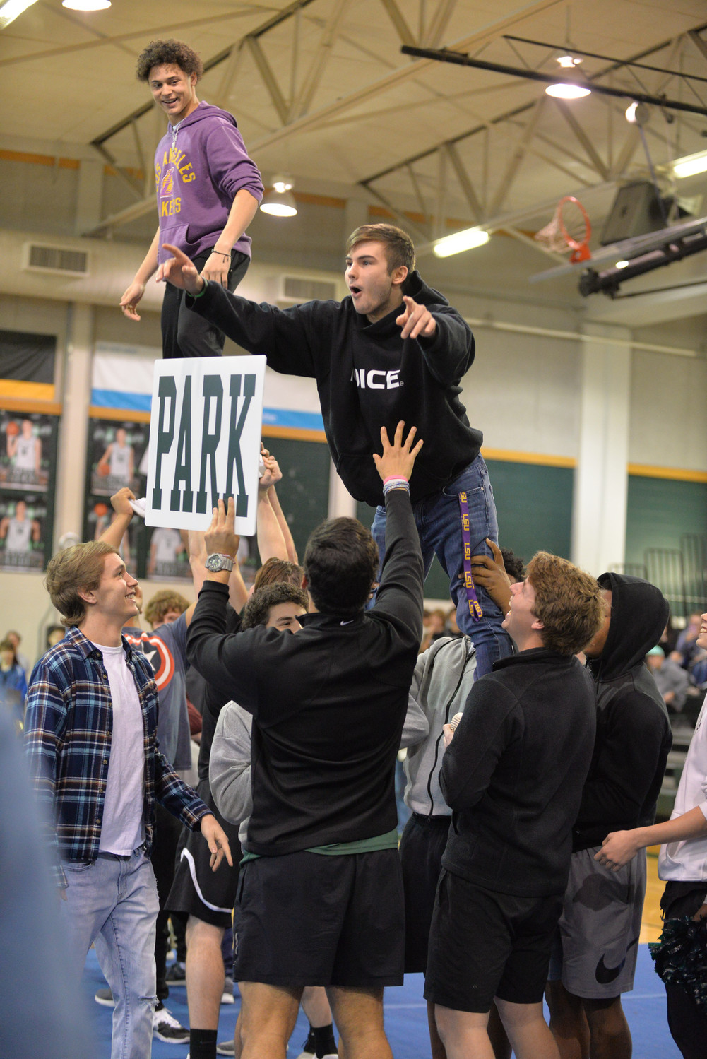 CPHS male athletes pay tribute to the UIL Champion Cheerleaders by attempting a cheer stunt, Tuesday, Jan. 23.