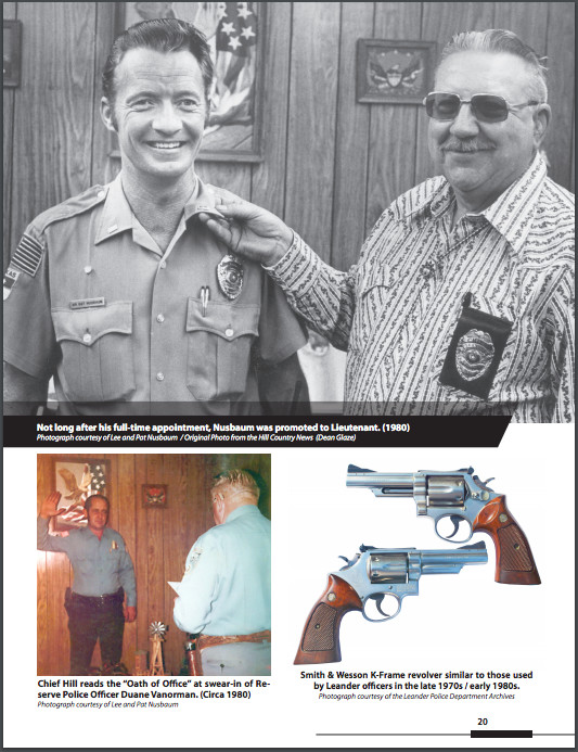 "A sample page from ""Retrospectus: A Photographic History of the Leander Police Department."""