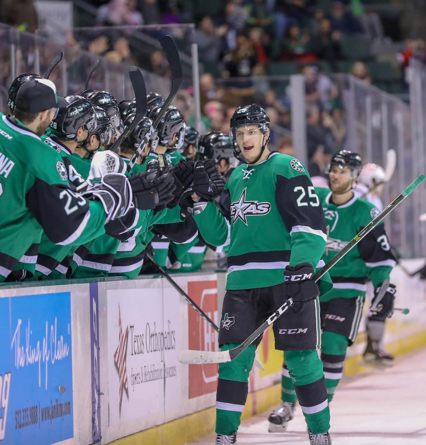 Denis Gurianov scored a hat trick in the third period, helping the Stars run away late in a 5-1 home win against the San Antonio Rampage on Saturday night.