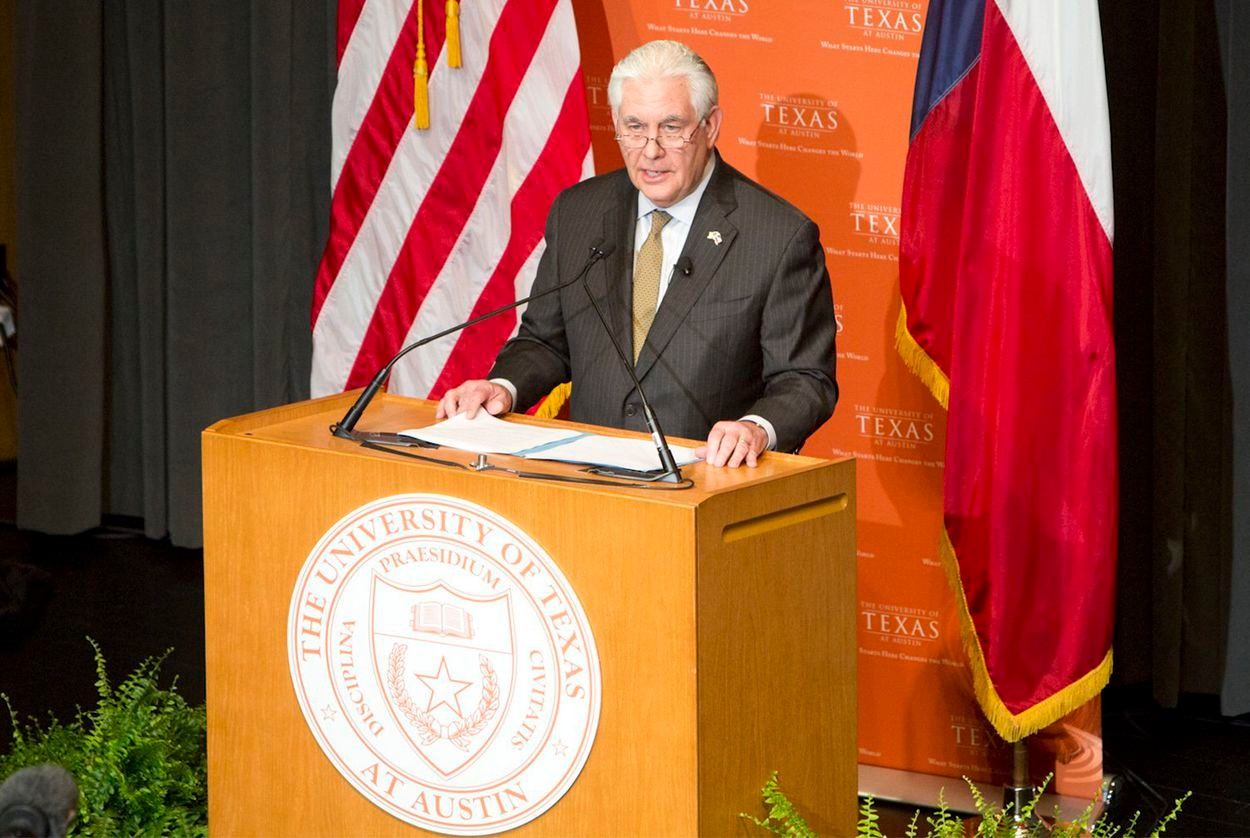 U.S. Secretary of State Rex Tillerson outlines the Trump administration's Western Hemisphere policy priorities during a visit to the UT-Austin on Feb. 1, 2018.