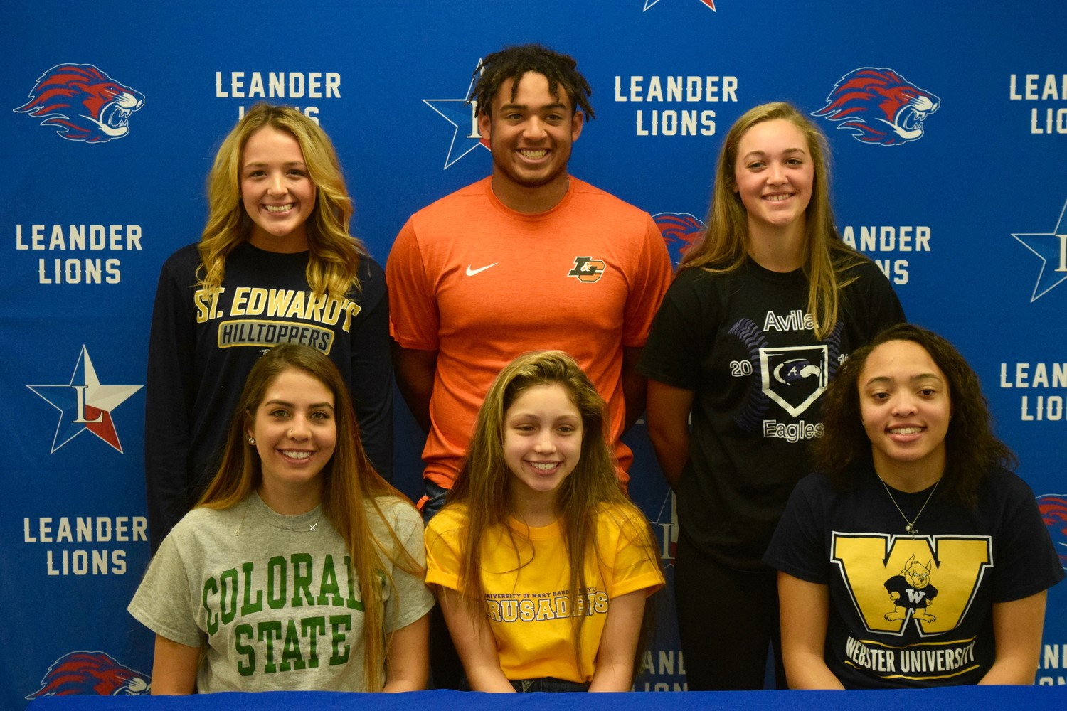 Top row: Madison Mallach (St. Edward's University), Alex Hensley (Lewis and Clark College) and Emily Walton (Avila University). Bottom row: Marissa Porras (Colorado State), Kassadie Sanders (Mary Hardin-Baylor) and Allyssa McByers (Webster University).