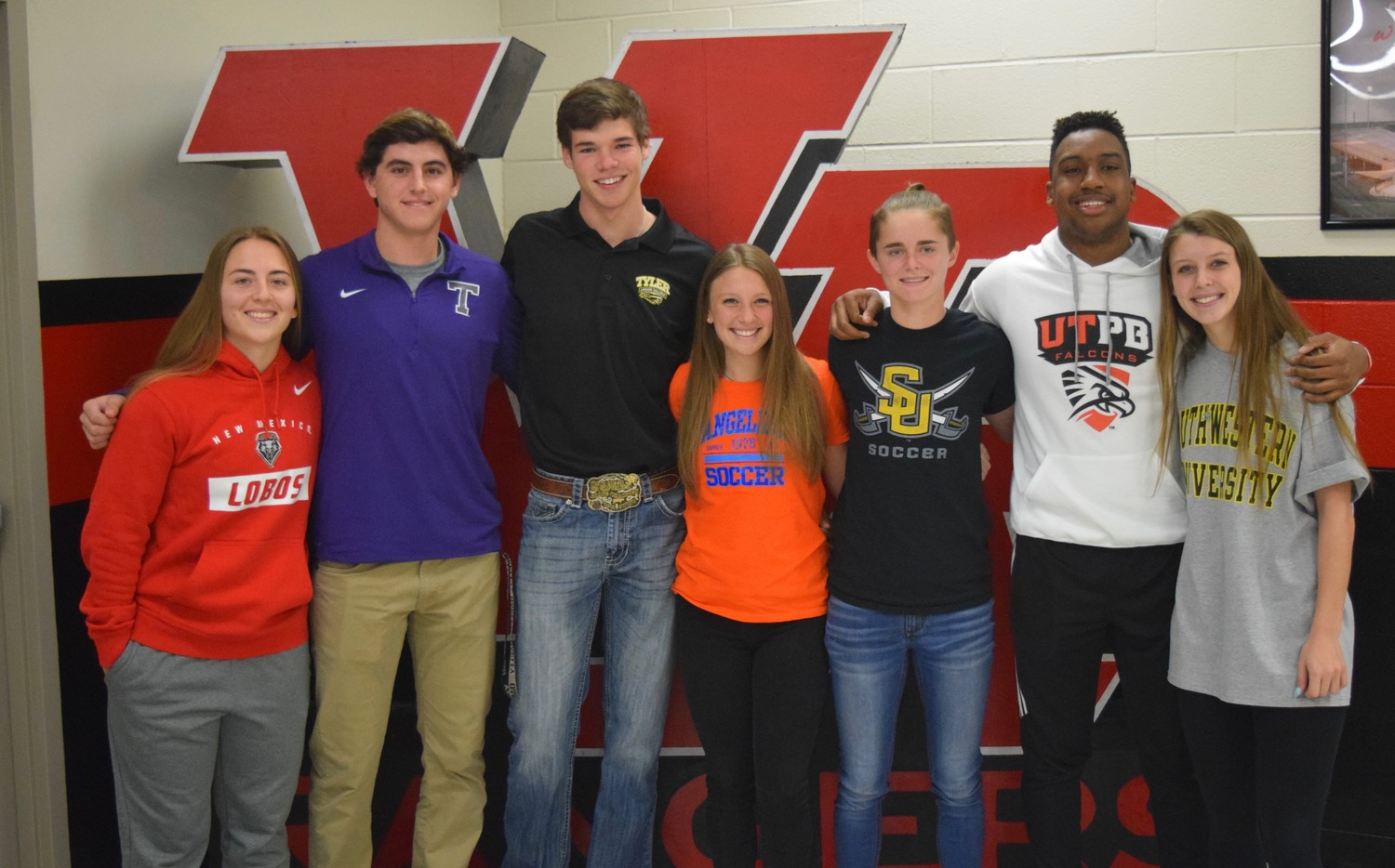 Seven Vista Ridge athletes signed on Wednesday morning (from left): Daryn Haslam (New Mexico), Gannon Azios (Tarleton State University), Dathon McGrath (Tyler Junior College), Olivia Porter (Angelina Junior College), Jamil Pittman (UTPB) and Hallie Rutherford (Southwestern), Hanna Sanderson (Southwestern).