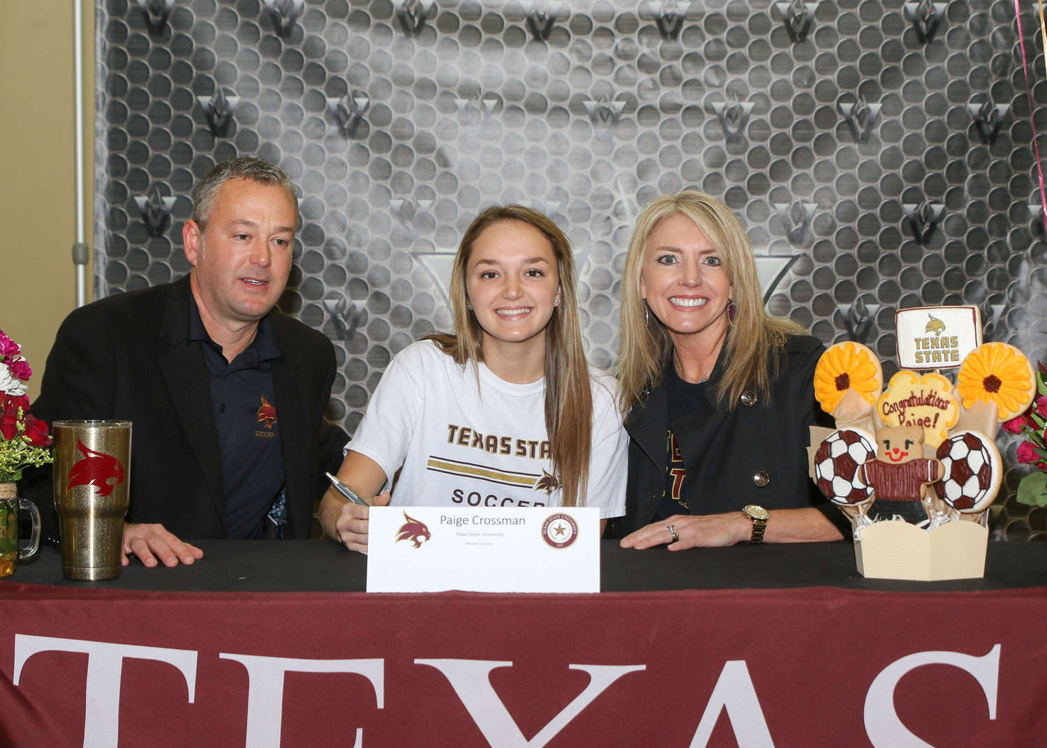 Paige Crossman signed a letter of intent to play soccer at Texas State University during a signing day ceremony at Vandegrift High School on February 7, 2018.