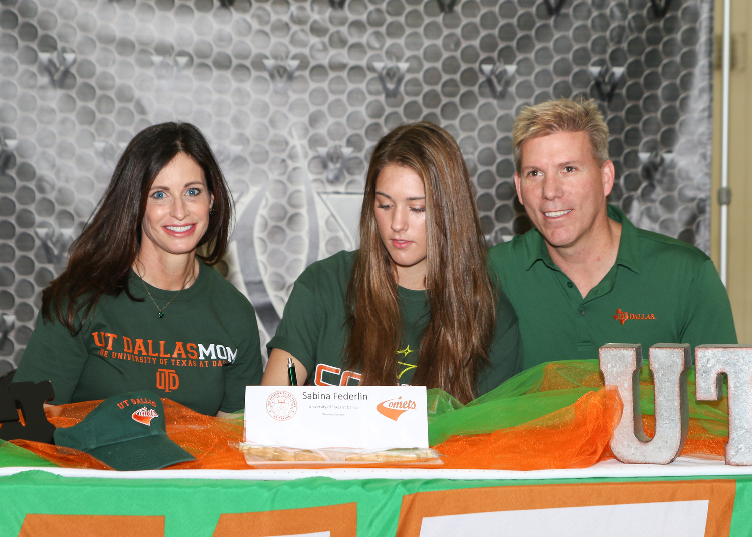 Sabina Federlin signed a letter of intent to play soccer at the University of Texas at Dallas during a signing day ceremony at Vandegrift High School on February 7, 2018.