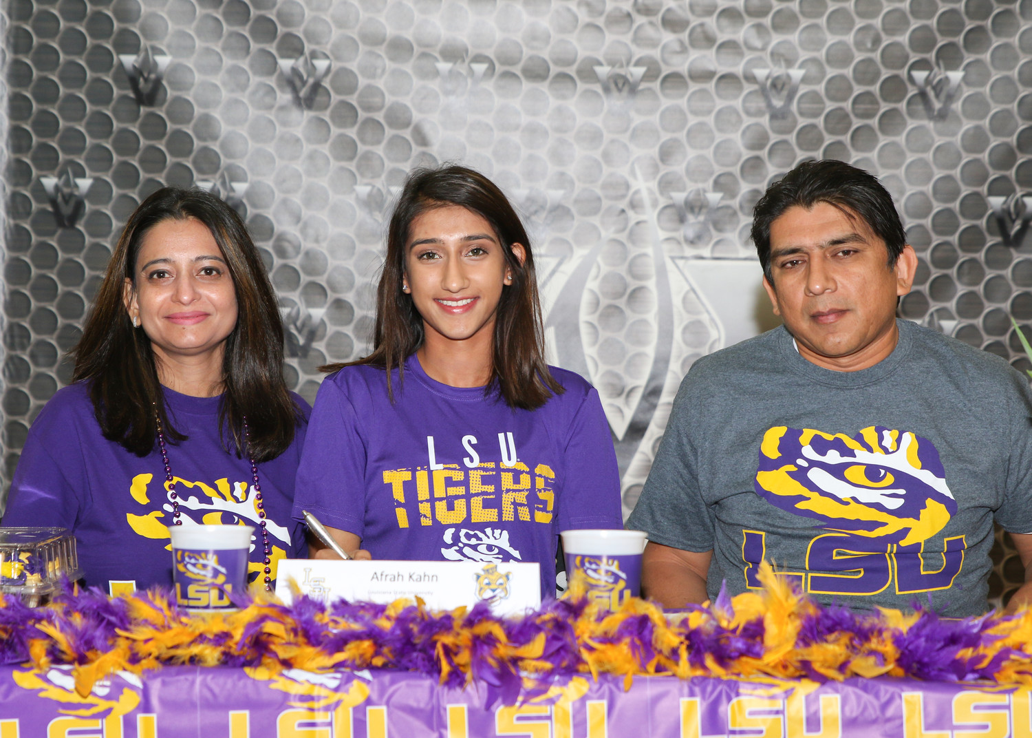 Afrah Khan signed a letter of intent to play soccer at Louisiana State University during a signing day ceremony at Vandegrift High School on February 7, 2018.