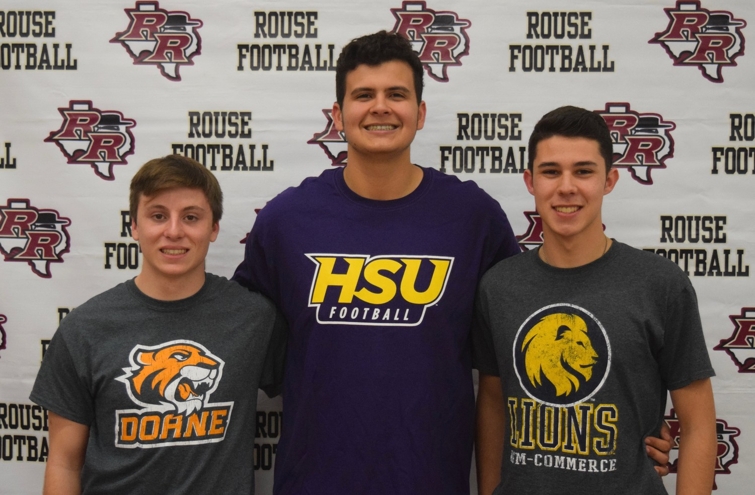 From left: Trevor Provencher, Zach Pelt and Jacob Zepeda signed to play football in college on Wednesday afternoon.