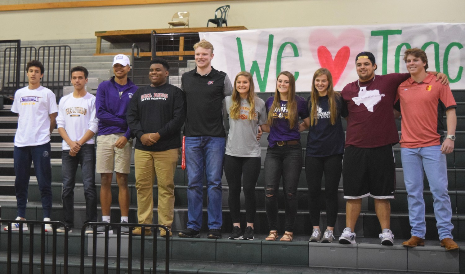 Cedar Park college signings from Left: Griffin Bacher (Concordia), Lance Radtke (Texas Lutheran), Aries Ramos (Mary Hardin-Baylor), Trajaan Chase (Sul Ross University), Mason Brooks (Western Kentucky), Dana Cripe (Midwestern State University), Skyler Cooper (Mary Hardin-Baylor), Jewell Resseguie (St. Edwards), Jonathan Kelly (West Texas A&M) and Mak Sexton (Pittsburg State).