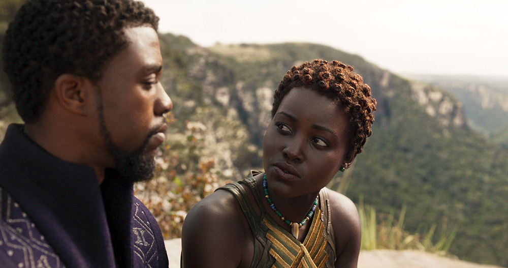 "Chadwick Boseman and Lupita Nyong'o in ""Black Panther."""