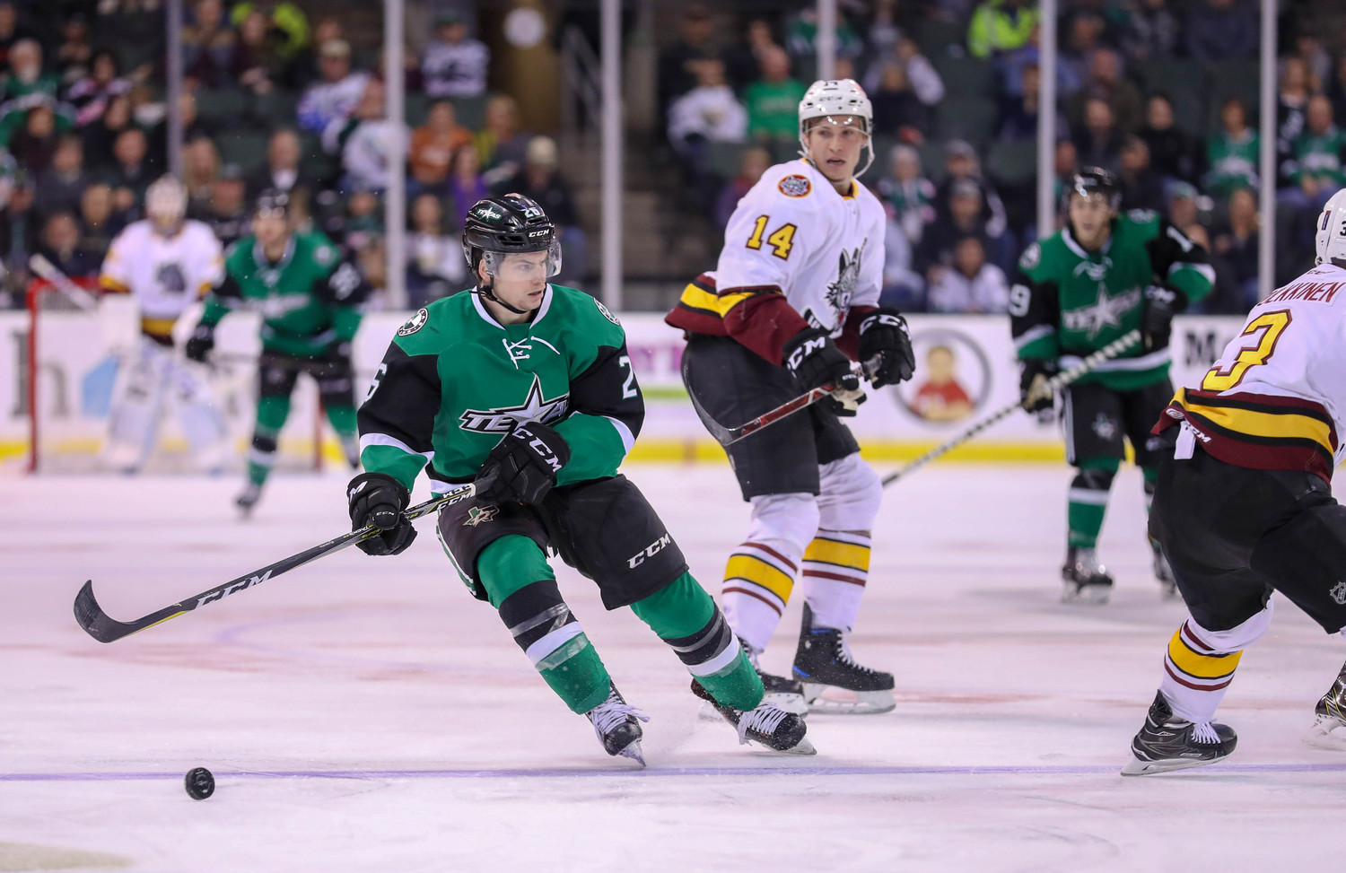 Max French scored his fourth goal of the season, but the Stars lost to the Chicago Wolves 4-1 on Saturday night.