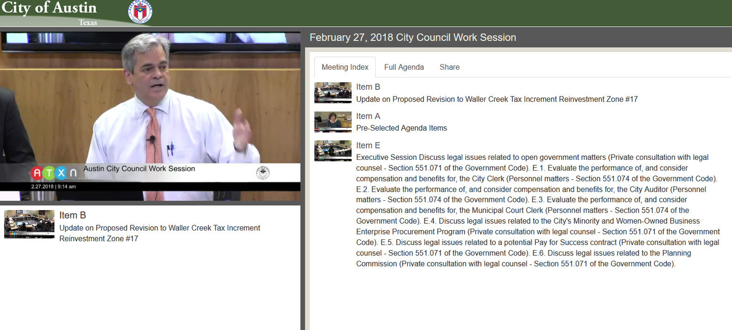 A screen shot of City of Austin's online council meeting video. Items that are being discussed show up on the right side of the screen.