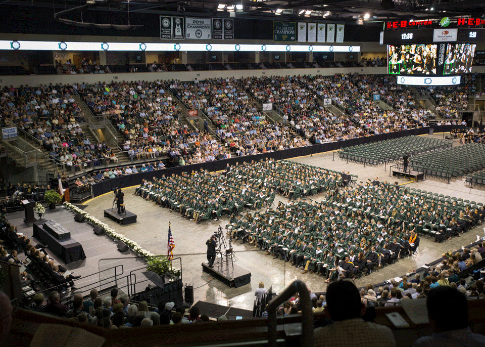 Crowds of seniors and their family and friends fill the seats of the HEB Center, Saturday June 2. All LISD graduation ceremonies were held at the HEB Center.