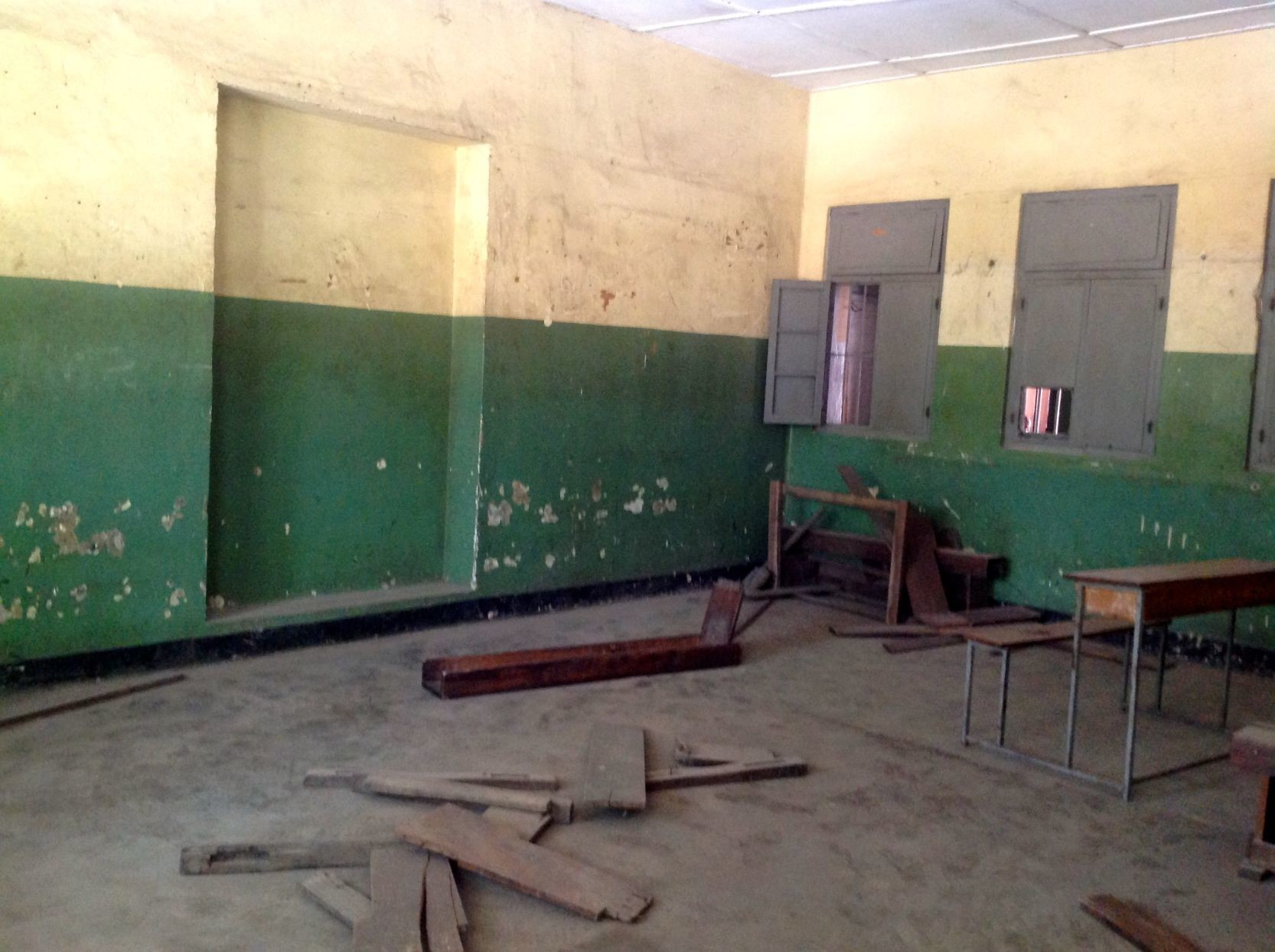 BEFORE: Gerezani Primary School as Carissa Mallory and Sara Campbell first found it in 2014.