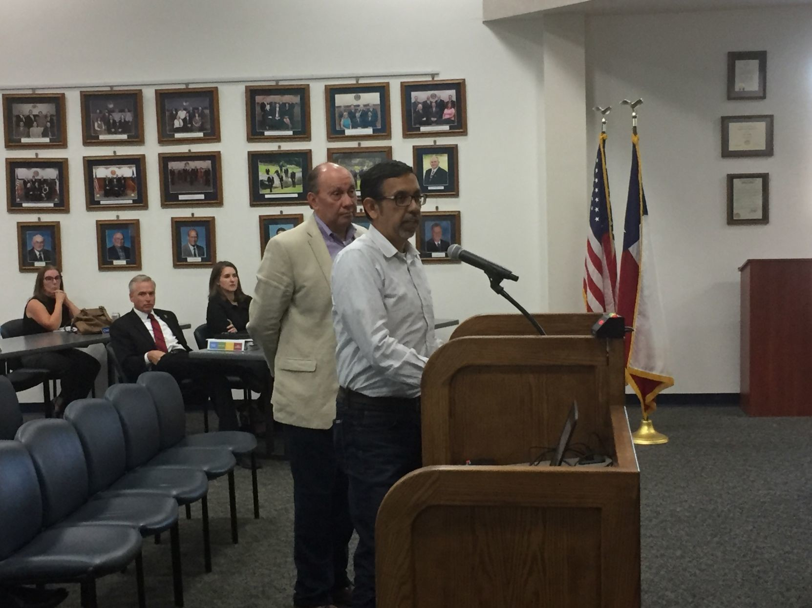 Javier Arguello, left, and Roberto Gonzalez briefed the Leander City Council Thursday on Metro's plans for rail service between Leander and Austin. The council was told track and station improvements will be finished by the middle of next year and additional new metro rail cars have arrived and are being tested.