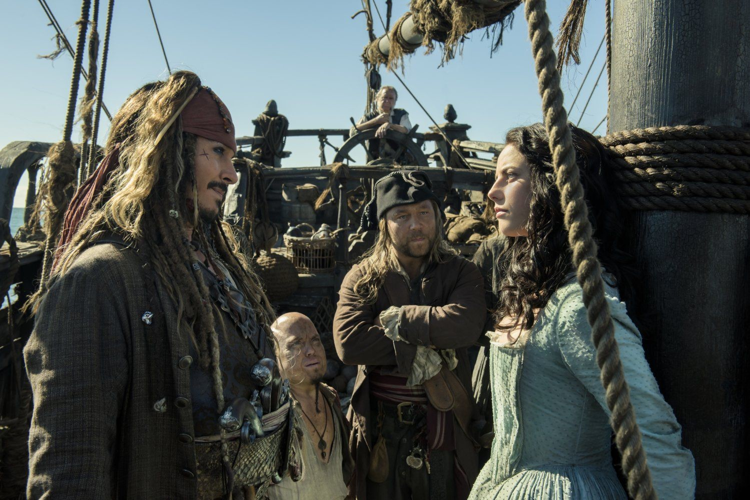 "Johnny Depp, Stephen Graham, Martin Klebba, Kevin McNally and Kaya Scodelario star in ""Pirates of the Caribbean: Dead Men Tell No Tales."""