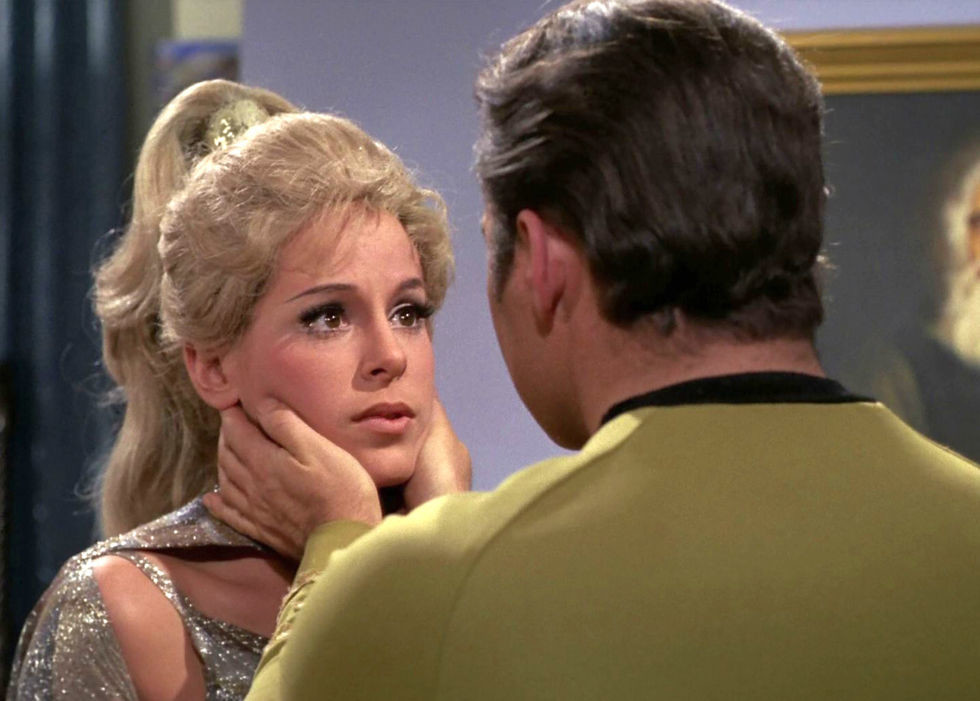 "Louise Sorel as android Rayna with William Shatner in the 1969 ""Star Trek"" episode Requiem for Methuselah."