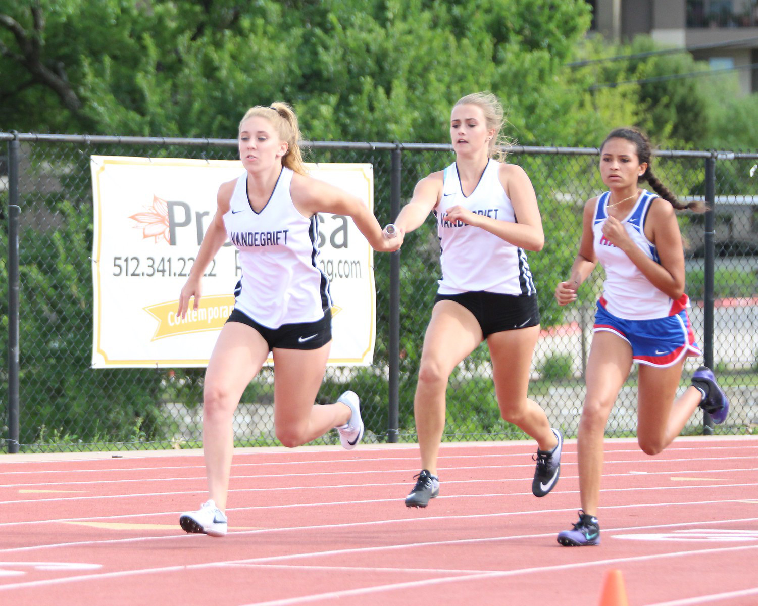 Vandegrift's girls relay team of Kyla Peeples, Taylor Grikis, Emi McCollum and Adeline Carter won the 4x400 event at last week's 25-6A meet.