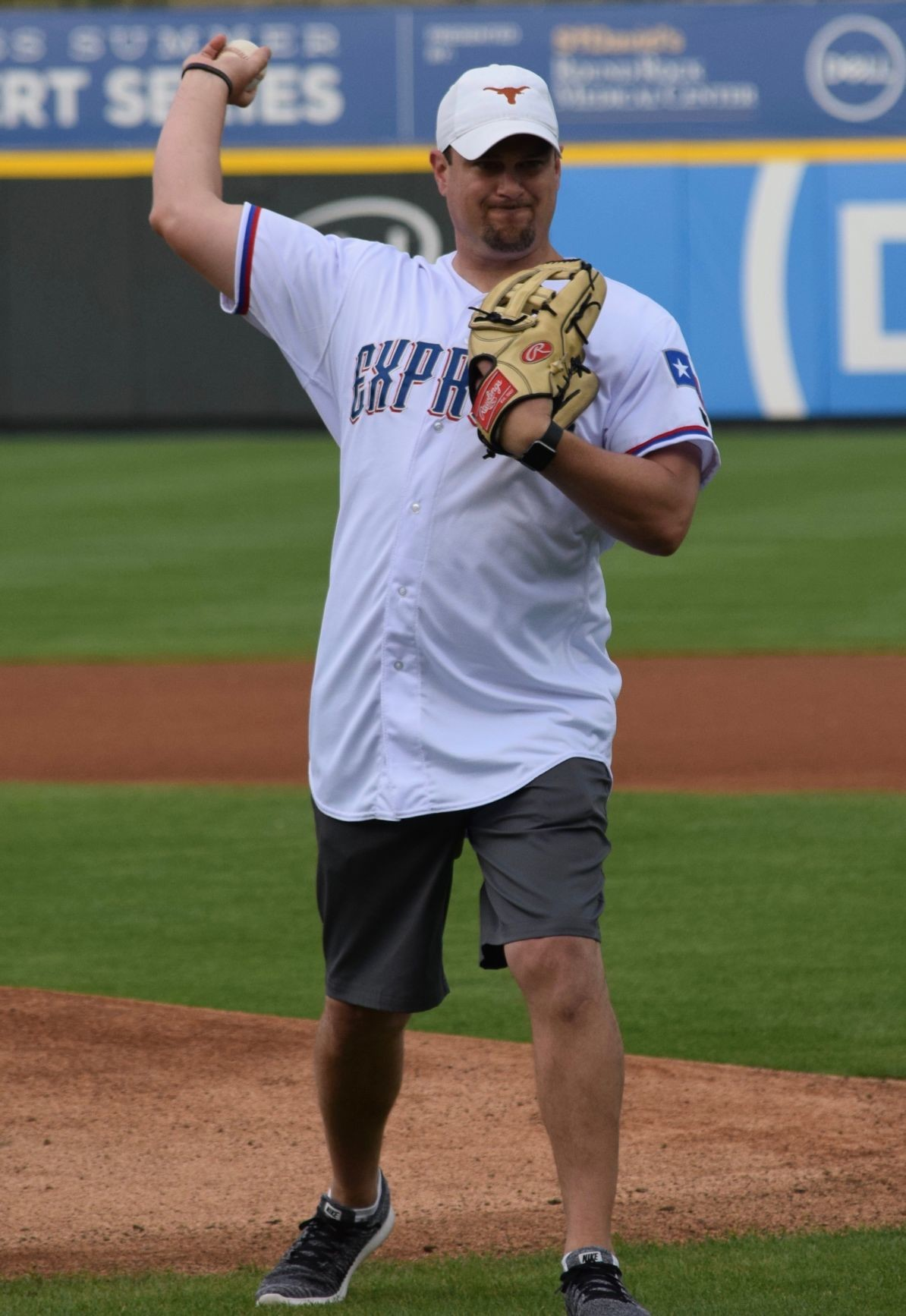 Texas head football coach Tom Herman threw out the first pitch as the Round Rock Express wrapped up a four-game series against the Iowa Cubs at Dell Diamond Tuesday night.