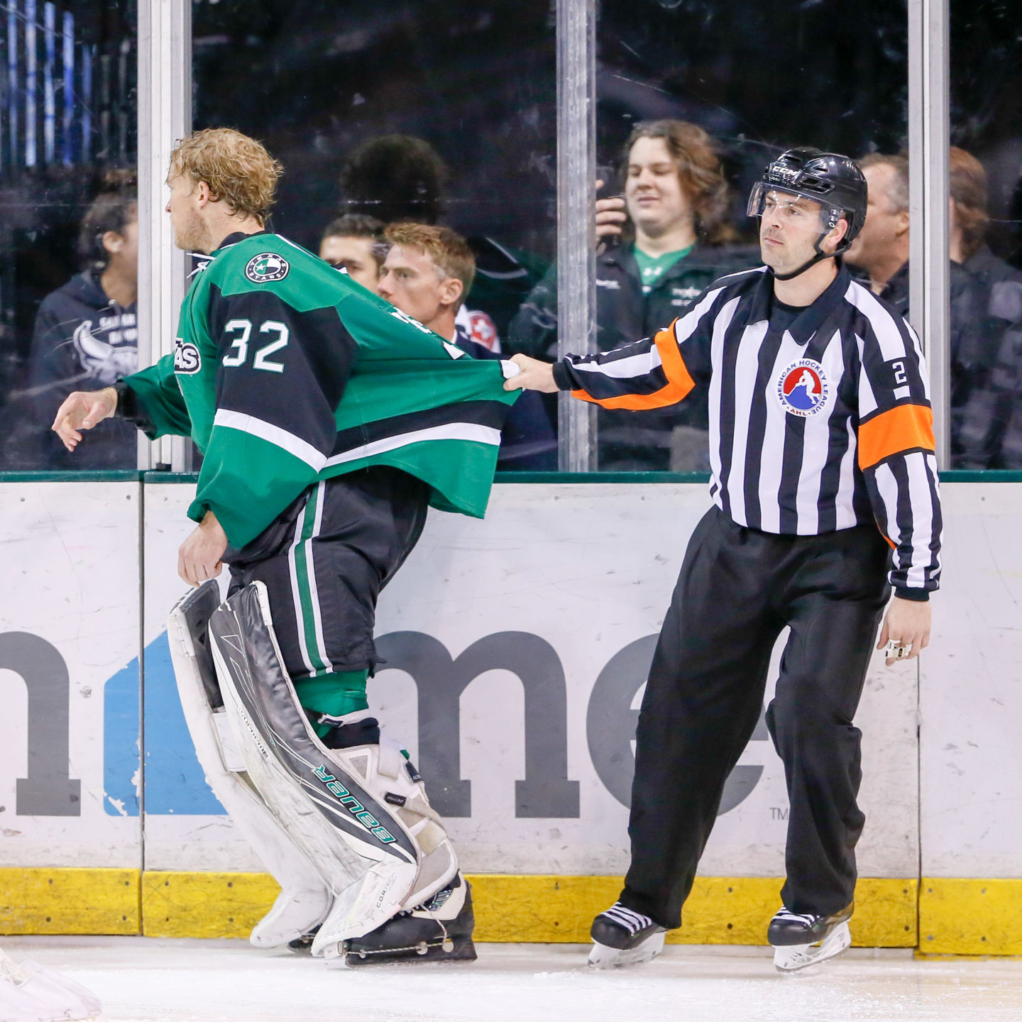 Justin Peters went the length of the ice and nearly got in a goalie fight with the San Antonio goalie in Texas' 6-3 loss to the Rampage in the season finale Saturday night.