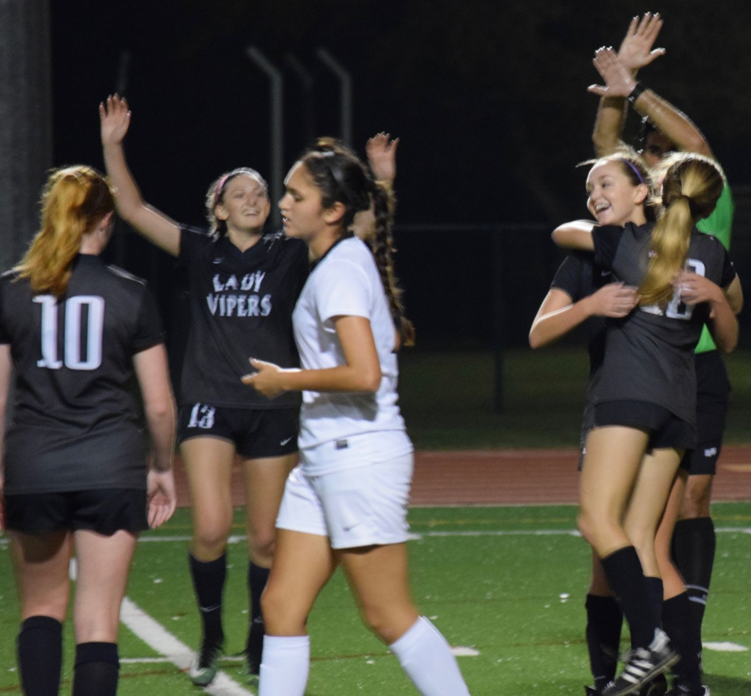 Senior Paige Crossman, right, scored a goal and Vandegrift beat Vista Ridge last week to clinch their third straight district title.