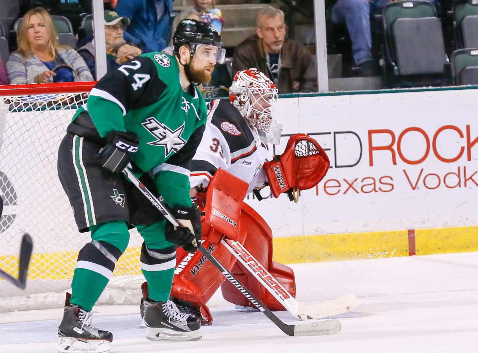 Brandon DiFazio, left, and the Texas Stars fell for the seventh time in the last eight games, losing 5-2 to the Western Conference-leading Grand Rapids Griffins Saturday night at H-E-B Center.