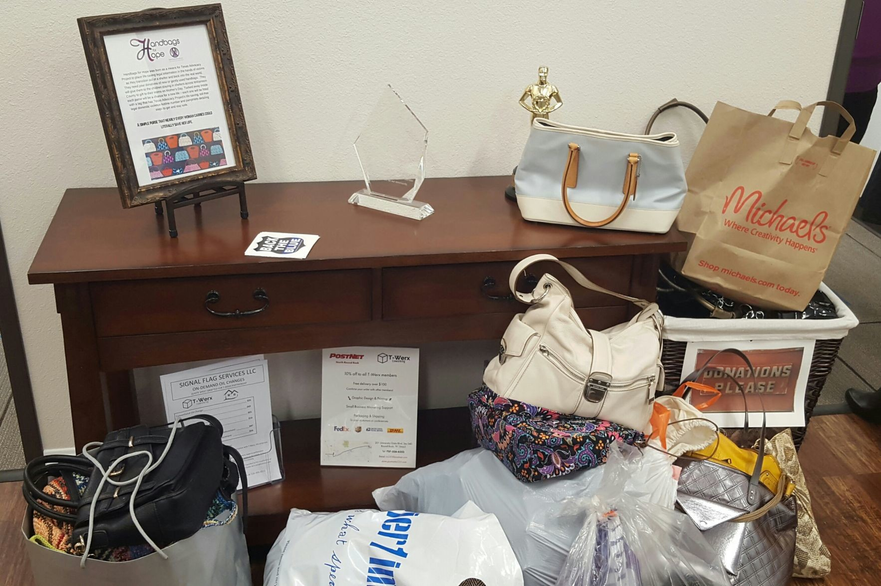 A basic handbag can save a life. Texas Advocacy Project, along with the Travis County Sheriff's Office, gives handbags to domestic violence victims to ultimately lead them to free legal help and safety.