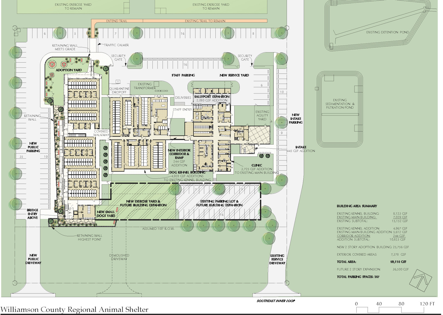This schematic site plan shows what the updated shelter will look like.