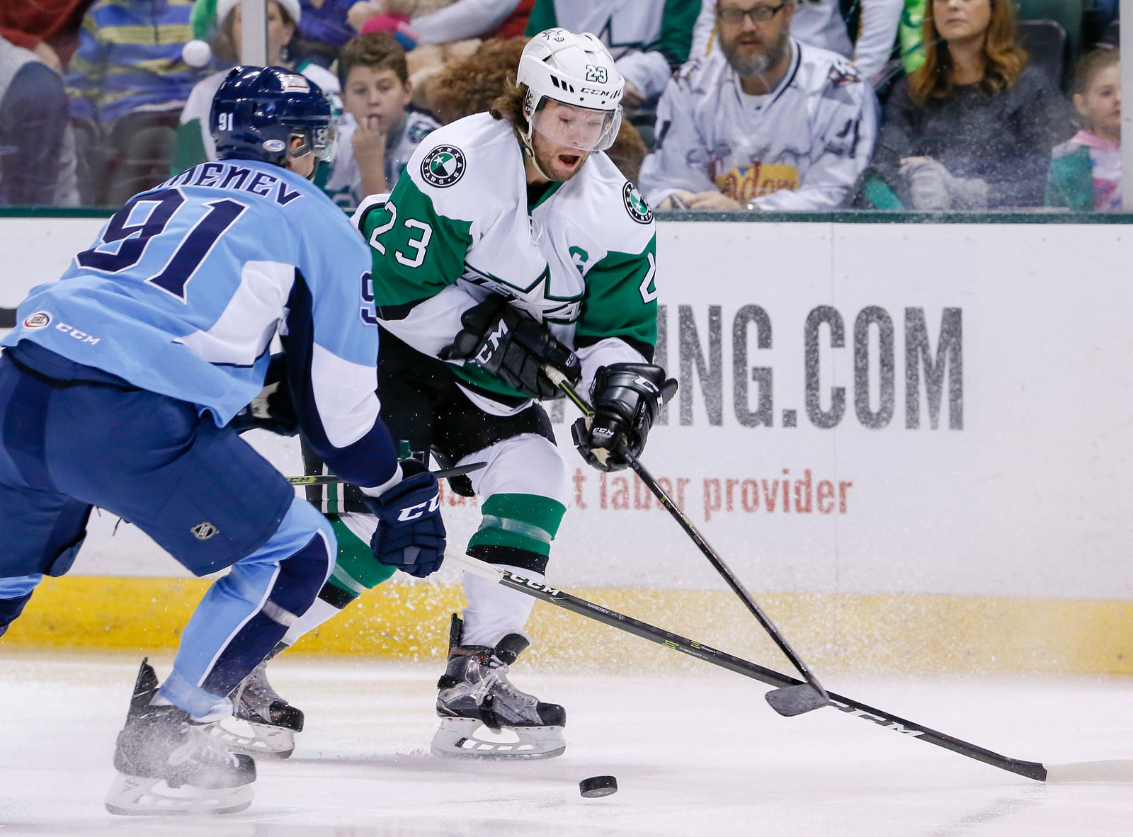 Travis Morin scored the only goal of the game Saturday as the Stars lost to the Milwaukee Admirals 9-1. Texas fell to Milwaukee 4-3 on Friday.