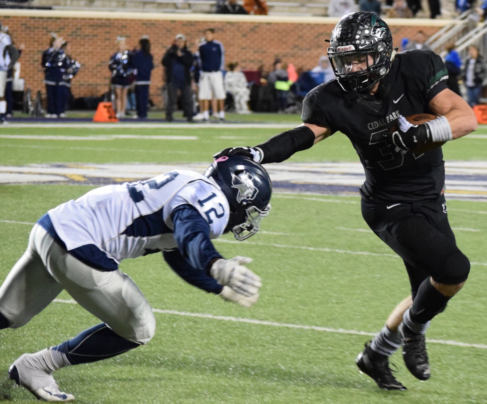 Tyler Lavine carried the ball 44 times for 241 yards and four touchdowns and Cedar Park beat Bryan 42-20 Friday night at Crusader Stadium at Mary Hardin-Baylor.