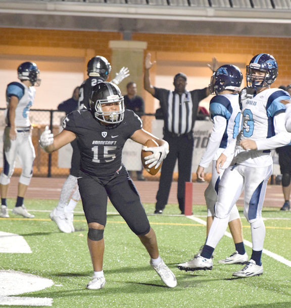 Isaiah Smallwood scored the game-winning touchdown for Vandegrift last week against San Antonio Johnson for the bi-district victory.