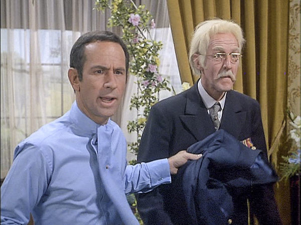 "Don Adams and Williams Schallert as the admiral in television's ""Get Smart."""