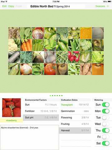 This image shows a screen shot of Leander resident Jeffrey Martin's new iPad gardening app.