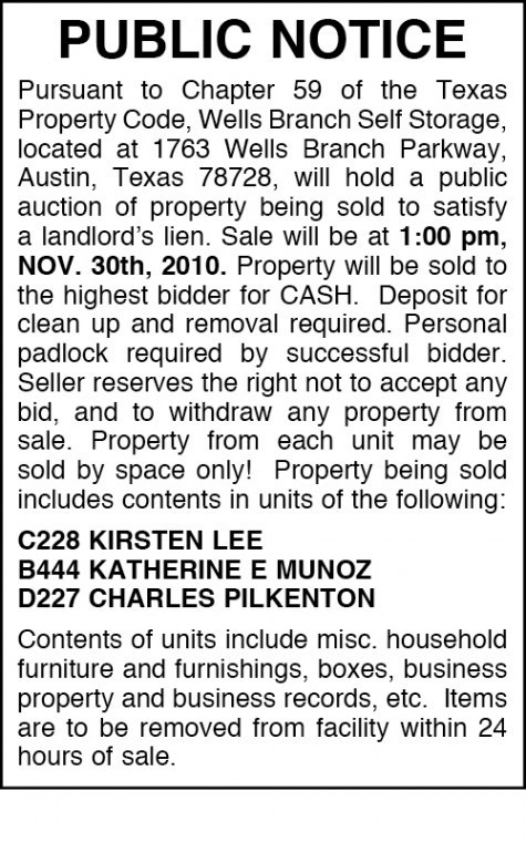 Wells Branch Self Storage - Public Auction | Hill Country News