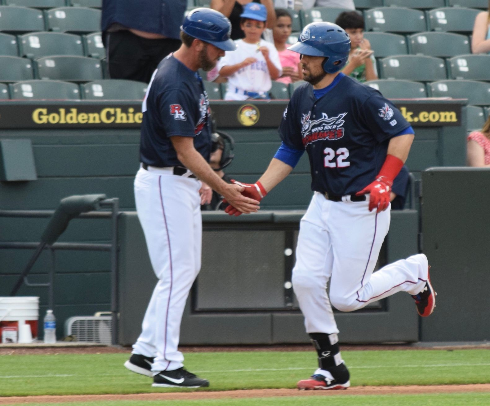 Brett Nicholas, right, drove in the only two runs of the game in Round Rock's 6-2 loss to the Memphis Redbirds on Thursday night.